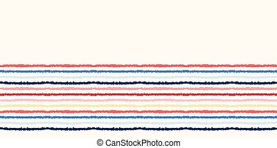 Red blue ocean regatta stripes seamless vector border pattern. Hand drawn seaside banner edging. Aqua nautical textiles, maritime home decor. Summer yacht fashion trim. Classy washi tape stationery