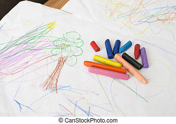 crayons on baby painting