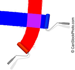 Red and blue paint rollers intersect and mix to make a patch of purple paint. (A clean, bright illustration, NOT a photo.)