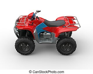 Red blue quad bike - top side view