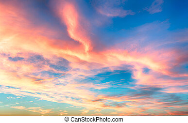 Red - blue sky at sunset