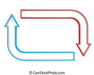 Red blue square arrow