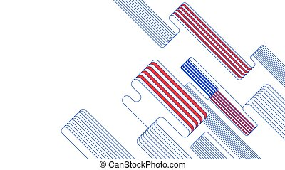 Red blue white stripe abstract background