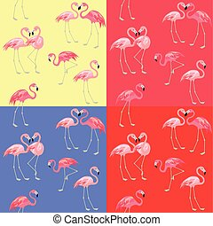 Red, blue, yellow and rose color fashion wallpapers with cute pink flamingo