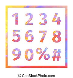 Red, blue, yellow, purple triangular numbers, percent sign and hash