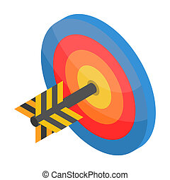 Red blue yellow target icon, isometric style