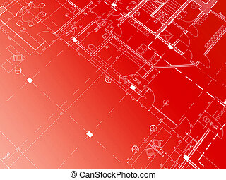 Red blueprint - Technical cad documentation architectural...