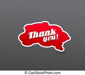 Red board with thank you sign.