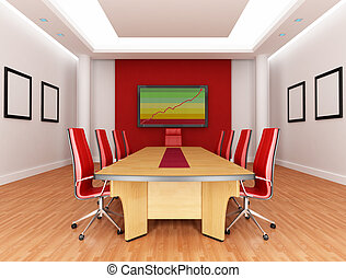 empty red and white boardroom - rendering - the image on screen is a my composition