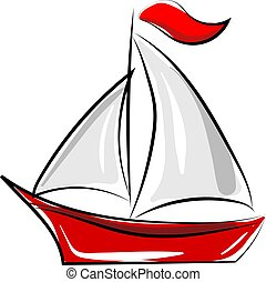 Red boat, illustration, vector on white background.