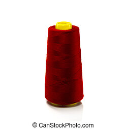 red bobbin with thread