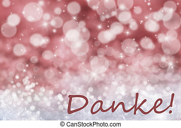 Red Bokeh Christmas Background, Snow, Danke Means Thank You