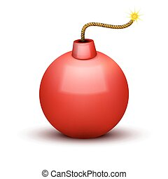 Red Bomb About To Blast with burning wick. Vector Illustration.