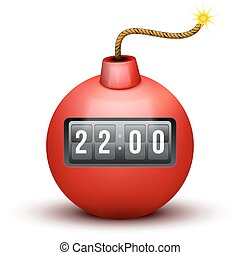 Red Bomb About To Blast with time counter. Vector Illustration.
