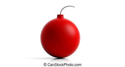 Red bomb on white background. 3d illustration