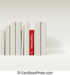 Red book in row of white book. - Red book in row of white...