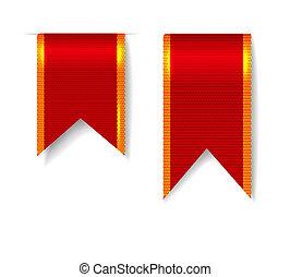Red bookmark ribbons set. illustration on white