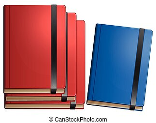 Red books and blue book on white background