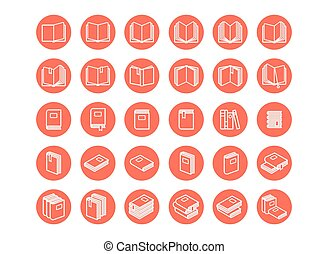 Red books icon set