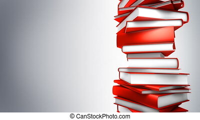 Red Books Stack (Loop) - Red Books piled. Seamless loop,...