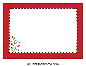 red scalloped notepad framed with floral design inside