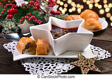 red borscht and mushroom pastries for christmas eve - red...