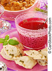 red borscht and ravioli (pierogi) for christmas - clear red ...