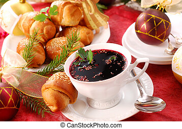 red borscht and yeast pastries for christmas - traditional ...