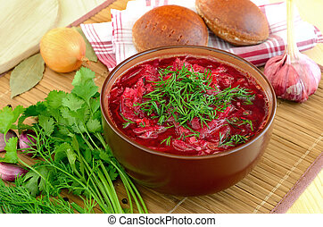 Red borscht with dill in the brown ceramic bowl