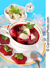 red borscht with ravioli - red borscht (barszczyk) with ...