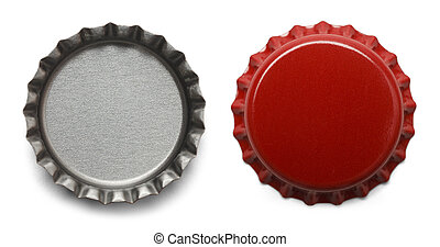 Red Bottle Caps Isolated on White Background.