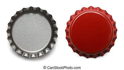 Bottle Caps - Red Bottle Caps Isolated on White Background.