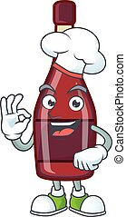 Red bottle wine cartoon character wearing costume of chef and white hat