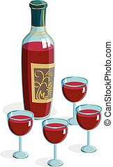 Red bottle wine four glass isolated on white background illustration Passover Pesach seder plate vector