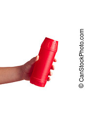 red bottle with cleaning powder isolated on white