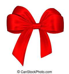 Red bow. 3d illustration isolated on white background