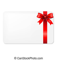 Red Bow And Blank Gift Tag, With Gradient Mesh, Vector...