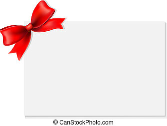 Red Bow And Blank Gift Tag, With Gradient Mesh, Vector ...