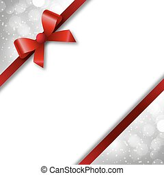 red bow and ribbon on a festive background bokeh