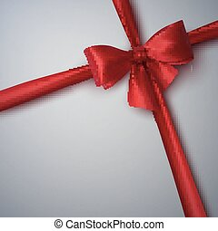 Red Bow And Ribbon.