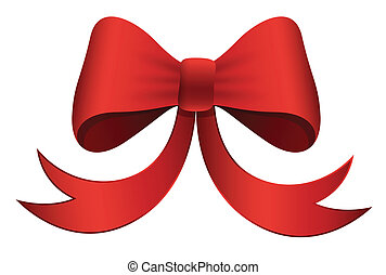 Red Bow - Christmas Vector