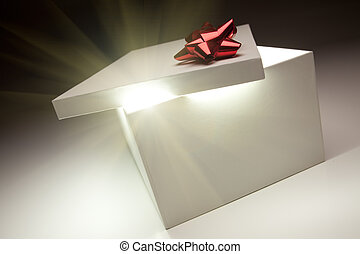 Red Bow Gift Box Lid Showing Very Bright Contents - Gift Box...
