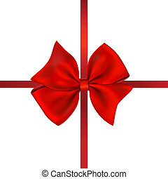 Red Bow Gift. Isolated On White