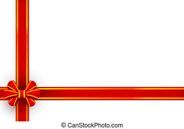 Red bow gift packing on a white background. Vector illustration.