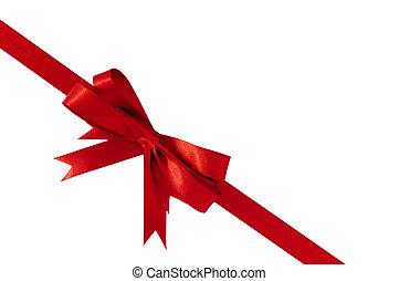 Red bow gift ribbon corner diagonal