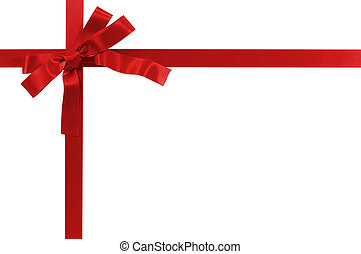 Red bow gift ribbon isolated on white
