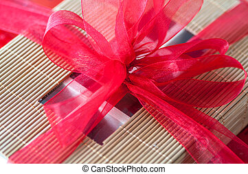 Red bow gift wrapping