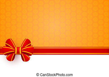 Red bow gift wrapping on an orange flower background. Vector ill