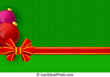Red bow gift wrapping on green floral background with Christmas