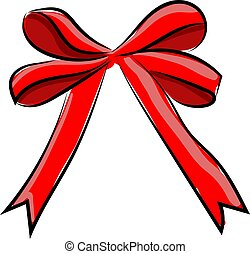 Red bow, illustration, vector on white background.